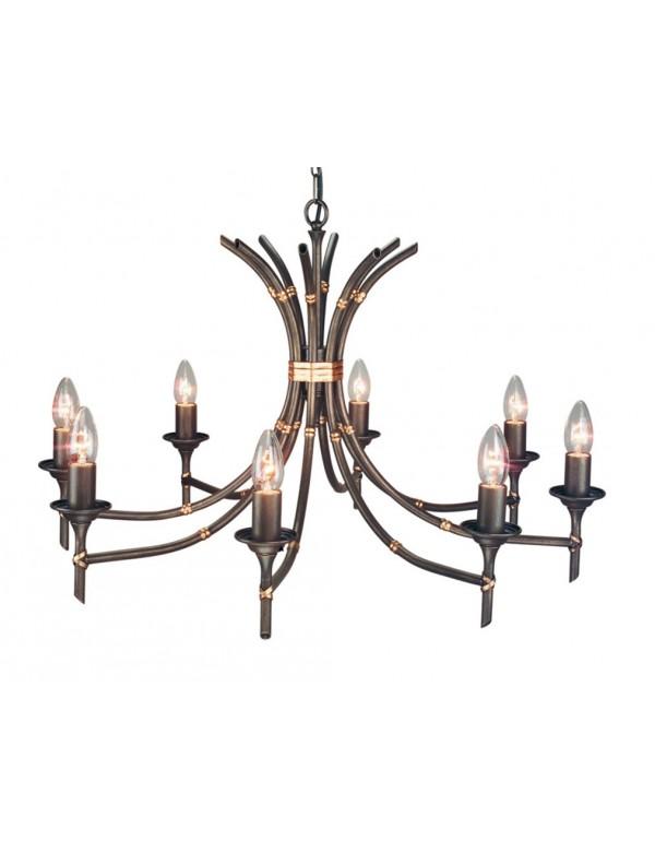 Czarujący ponadczasowy żyrandol Bamboo 8lt - Elstead Lighting