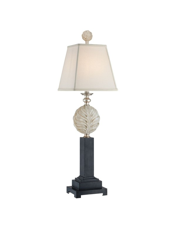 PALMETTA LS wysoka, smukła lampa stołowa z ornamentem - Quoizel