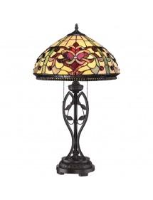 QZ/KINGS POINTE witrażowa lampa zodobna z rubinowymi wstawkami - Quoizel