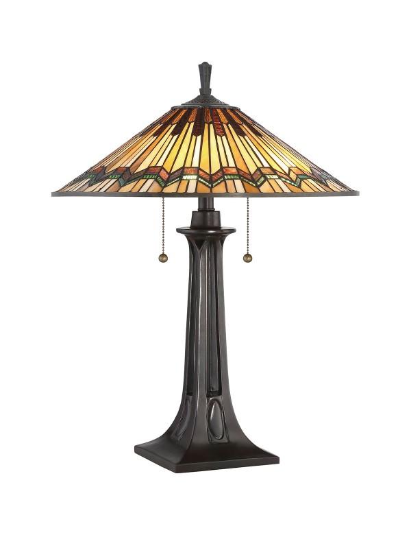 QZ/ALCOTT/TL stołowa lampa witrażowa z delikatnym wzorem - Quoizel