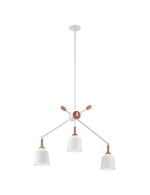 KL/DANIKA3 biała lampa wisząca z drewnianym akcentem - Kichler