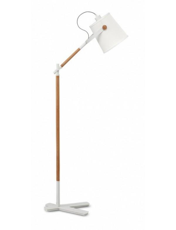 Podłogowa lampa NORDICA LP z białym kloszem z tworzywa - Zuma Line