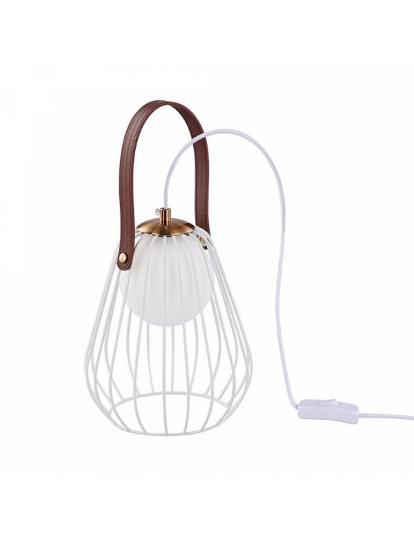 INDIANA LS stołowa lampa rustykalna ze skórzanym elementem - Maytoni