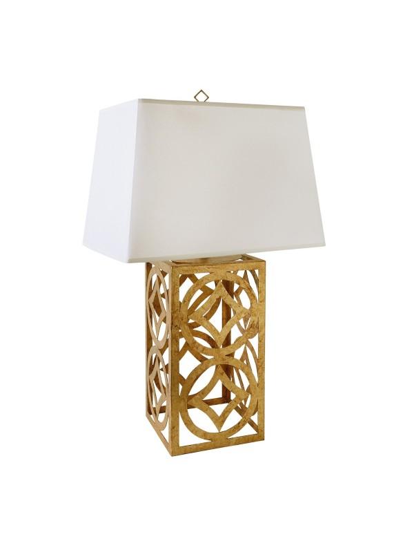 Lampa stołowa LEE CIRCLE ze wzorzystą otwartą podstawą - Gilded Nola
