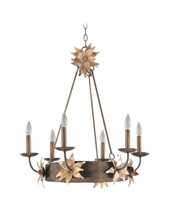 SIMONE 6 żyrandol klasyczny ze złotym motywem kwiatowym - Flambeau