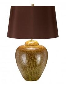 OAKLEIGH PARK stołowa lampa z brązowym abażurem ze złotą podszewką - Elstead