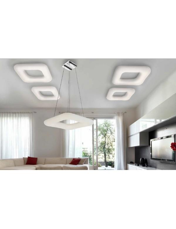Kwadratowa lampa DONUT SQ PENDANT 46 CCT z mlecznym kloszem - Azzardo