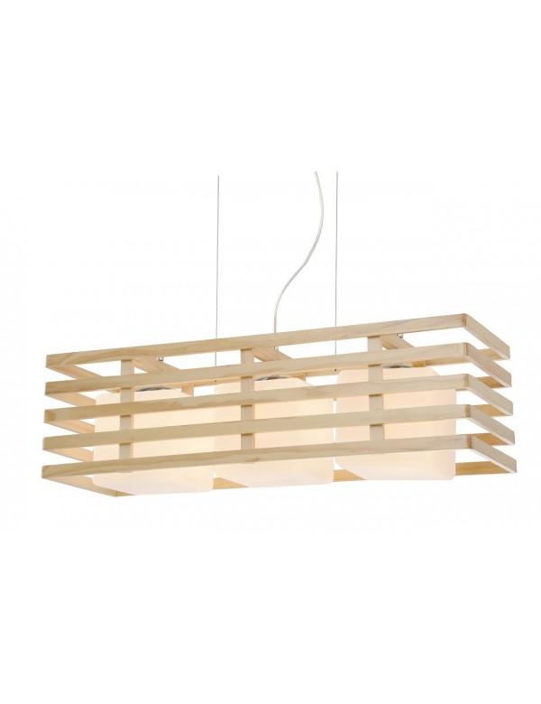 Wisząca lampa FRANKLIN 3 z kloszami w drewnianej obudowie - Auhilon