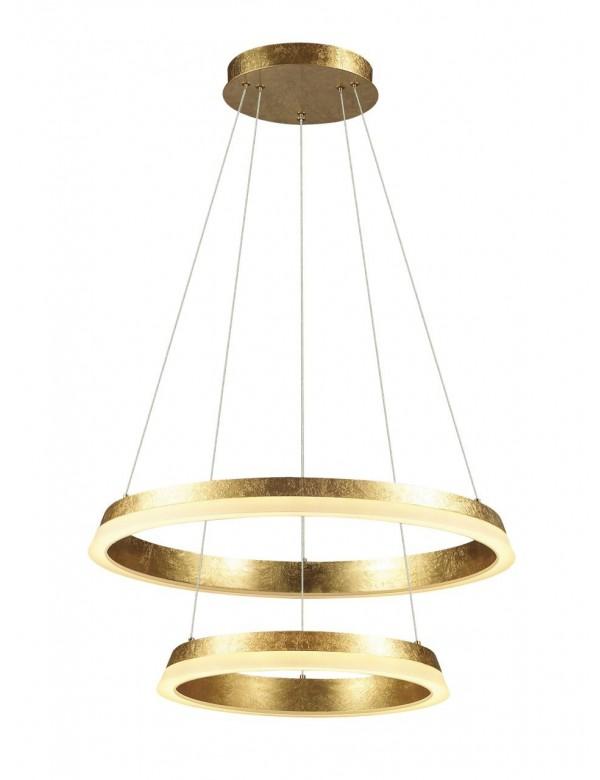 Wisząca Lampa Golden 2 Dwa Złote Okręgi Led Auhilon