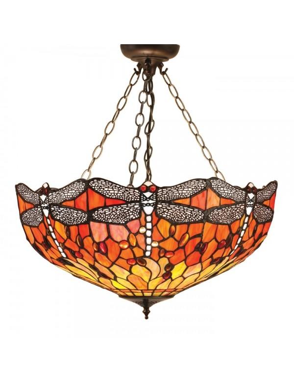 DRAGONFLY wisząca lampa witrażowa z motywem ważki - Interiors