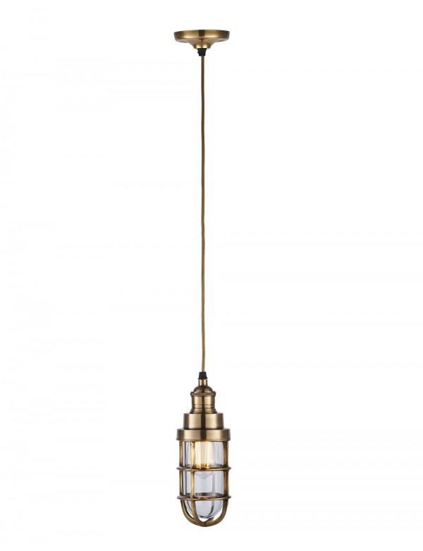 Mała lampa wisząca w mosiężnej kolorystyce ELCOT 2 - Endon
