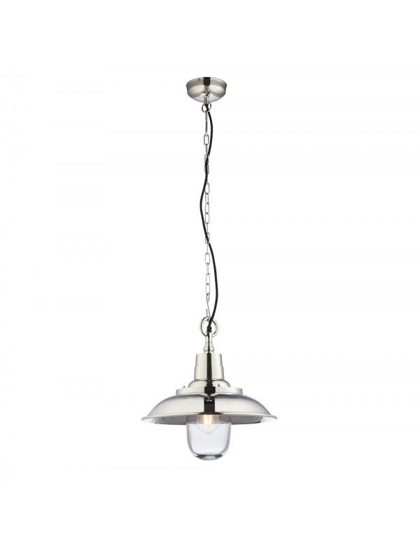 Niklowana lampa wisząca z szerokim daszkiem LANGLEY - Endon