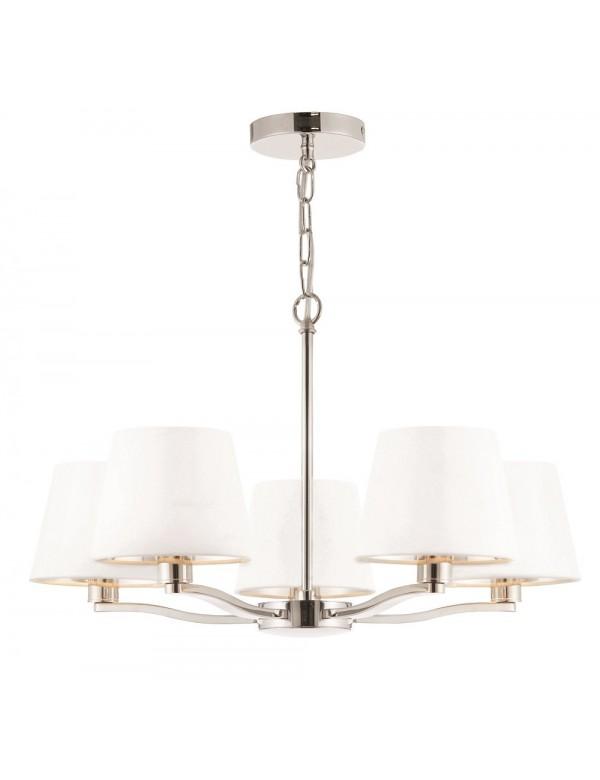 HARVEY 5 lampa wisząca z białymi abażurami nikiel lub złota - Endon
