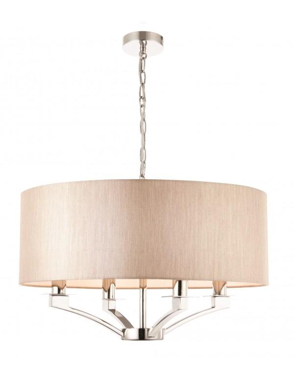 VIENNA 4 beżowa lampa wisząca z niklowaną konstrukcją - Endon