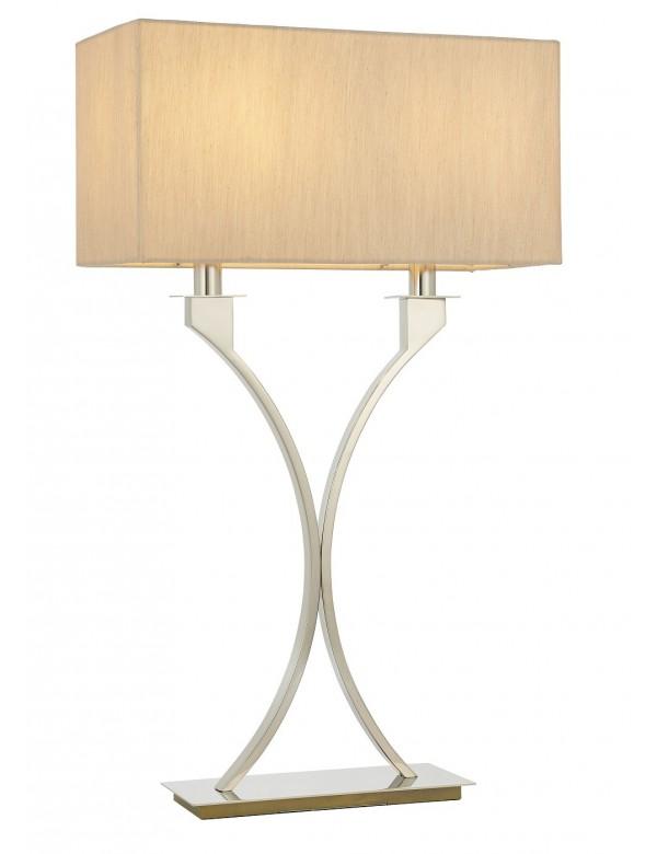 Stołowa lampa VIENNA LS z beżowym abażurem z tkaniny - Endon