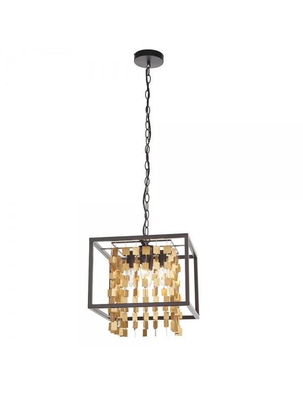 DAYA 4 wisząca lampa ze złotymi kwadratowymi wisiorkami - Endon