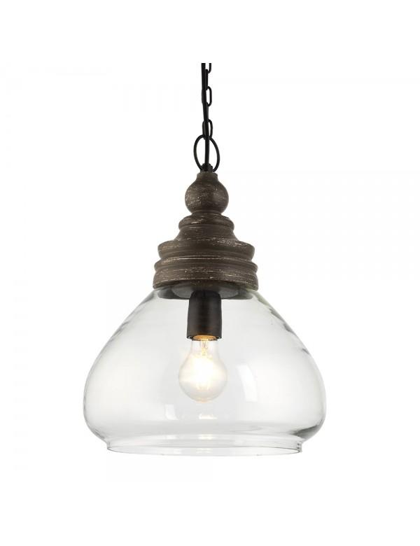 Lampa wisząca KERALA 1 z szarą drewnianą wstawką - Endon