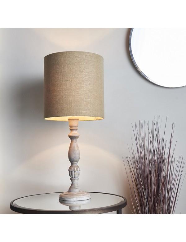 SABARA LS2 stołowa lampka z drewnianą białą podstawą - Endon