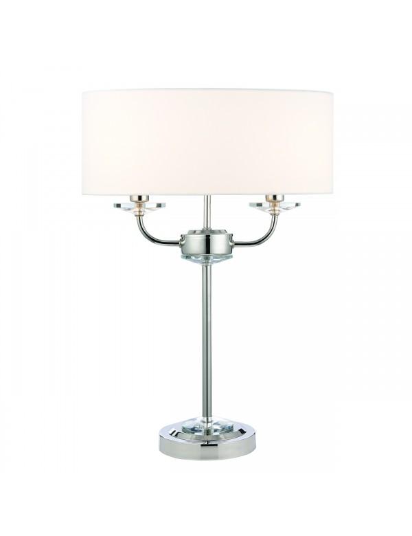 Ekskluzywna lampa stołowa NIXON TABLE z niklowana konstrukcją - Endon
