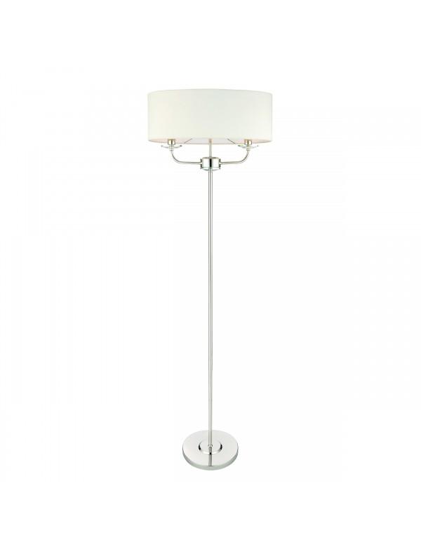 NIXON FLOOR srebrna lampa podłogowa z owalnym abażurem - Endon