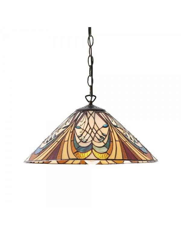 Kolorowa lampa wisząca HEKTOR 1M szkło witrażowe - Interiors 1900