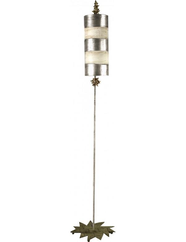 Ciekawa lampa podłogowa Nettle Silver - Flambeau