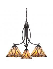 Szklana lampa witrażowa z trzema kloszami ASHEVILLE 3 firmy Quoizel