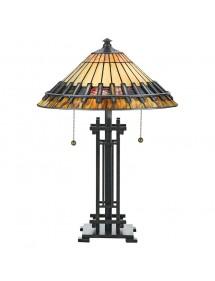 Quoizel lampa witrażowa CHASTAIN LS z patynowaną podstawą