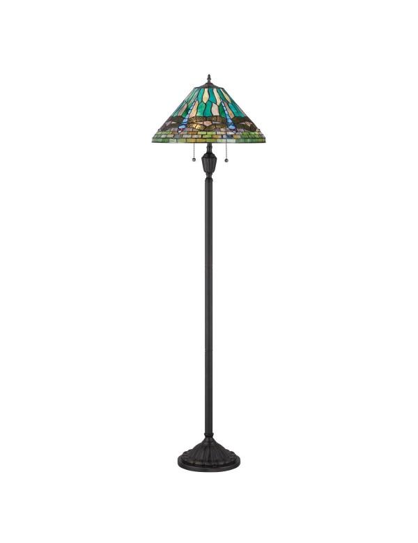 Podłogowa lampa KING LP z motywem ważki na kloszu - Quoizel