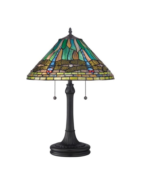 KING TL stołowa lampa witrażowa ze wzorem ważki - Quoizel