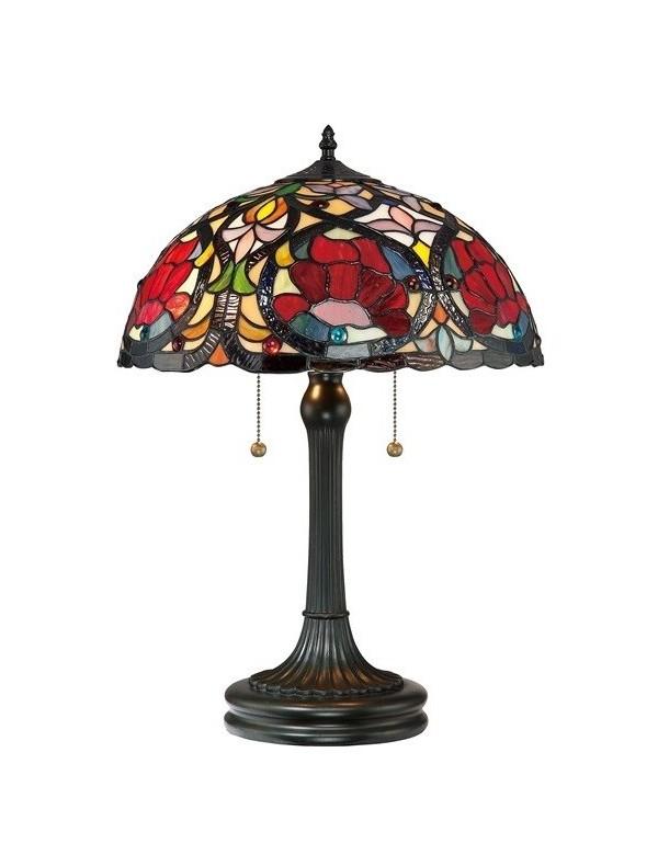 LARISSA LS stołowa lampa witrażowa w ciepłej kolorystyce - Quoizel