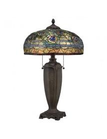 LYNCH LS stołowa lampa witrażowa ze wzorem pawich piór - Quoizel