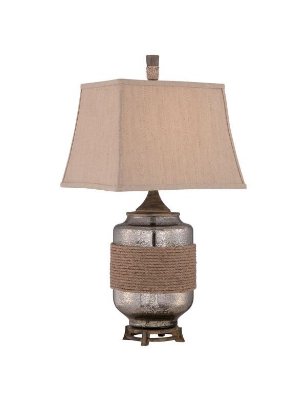 QZ/RIGGING lampa stołowa z podstawą z błękitnego szkła - Quoizel