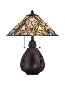 QZ/INDIA/TL lampa witrażowa o butelkowym kształcie podstawy - Quoizel