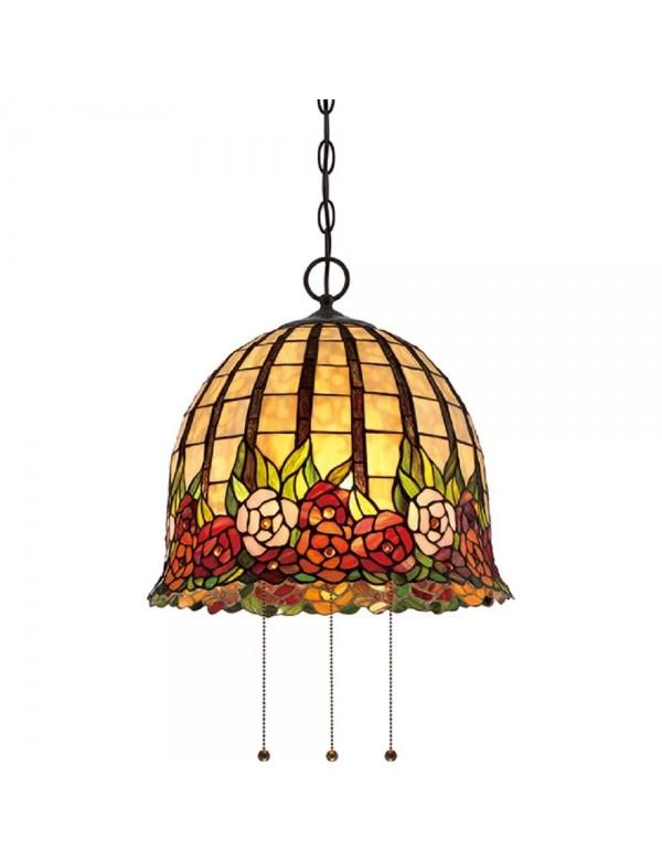 Piękna lampa witrażowa wisząca ze wzorem kwiatowym QZ/ROSECLIFFE/P - Quoizel