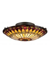 Okrągły plafon QZ/WEST END/F płaska lampa witrażowa - Quoizel