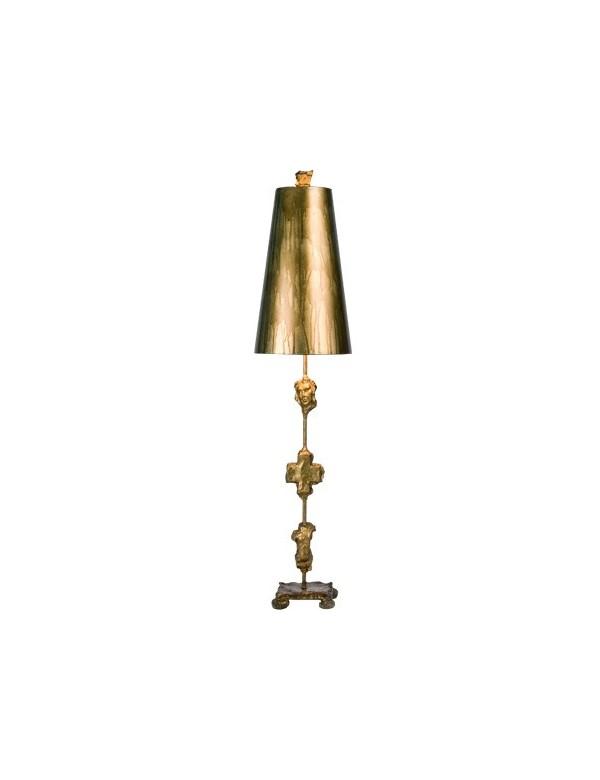 Stylowa lampa na stoliczek nocny Fragment Gold - Flambeau