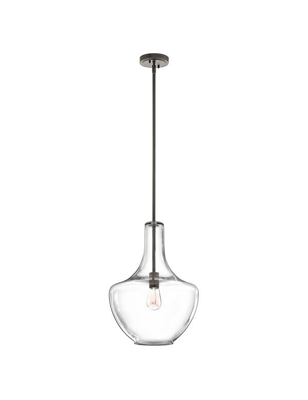 KL/EVERLY/P/M lampa wisząca z przezroczystym szklanym kloszem - Kichler