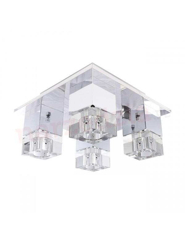 Plafon BOX 4 chromowana konstrukcja i szklane klosze - Azzardo