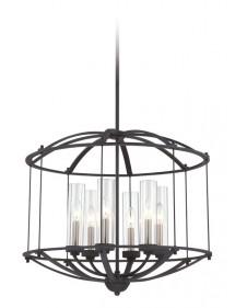 Ciekawa konstrukcja lampy wiszącej Troy - Quoizel