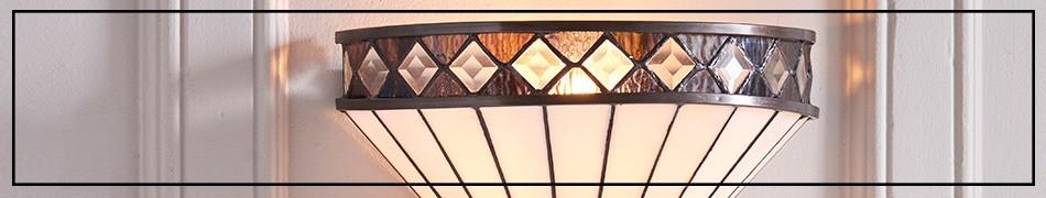 Witrażowe lampy ścienne, dekoracyjne kinkiety z witrażowymi kloszami